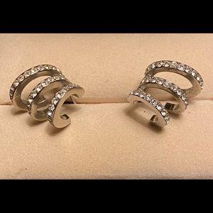 Michael Kors silver triple hoop earrings